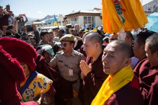 Thaye Dorje, His Holiness the 17th Gyalwa Karmapa, arriving at Leh airport. Photo / Magda Jungowska