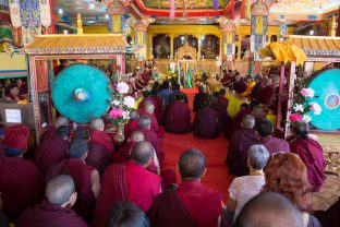 The welcoming ceremony at Karma Dupgyud Choeling Monastery. Photo / Magda Jungowska