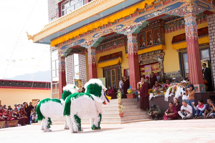 Lion Dance by Rumtek monks during the inauguration of Karma Dupgyud Choeling Monastery. Photo / Magda Jungowska.