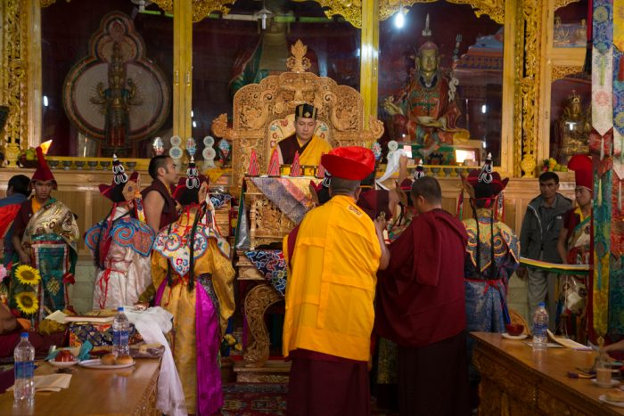 Long life (tenshuk) offerings to Thaye Dorje, His Holiness the 17th Gyalwa Karmapa. Photo / Magda Jungowska