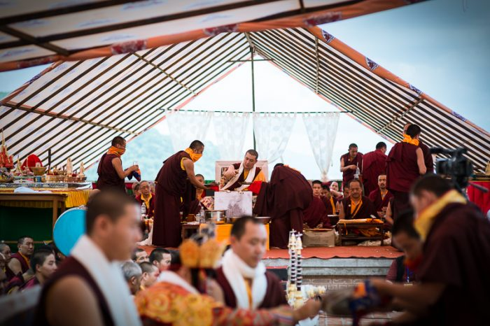 Thaye Dorje, His Holiness the 17th Gyalwa Karmapa, and Rinpoches perform the puja of Gyalwa Gyamtso. Photo/ Tokpa Korlo
