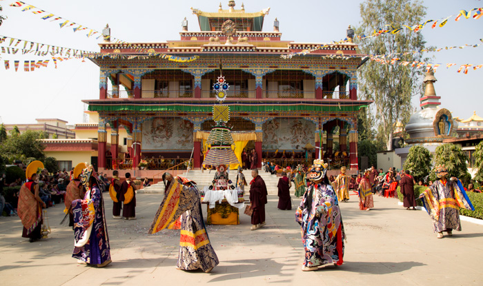 This year's Kagyu Monlam in Bodhgaya was preceded by several days of extensive Mahakala practice, culminating in the performance of elaborate lama dances on the final day. Photo/Norbu Zangpo