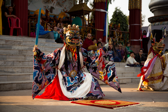 His Eminence Jamgon Kongtrul Rinpoche, performing during the Mahakala dances. Photo/Norbu Zangpo