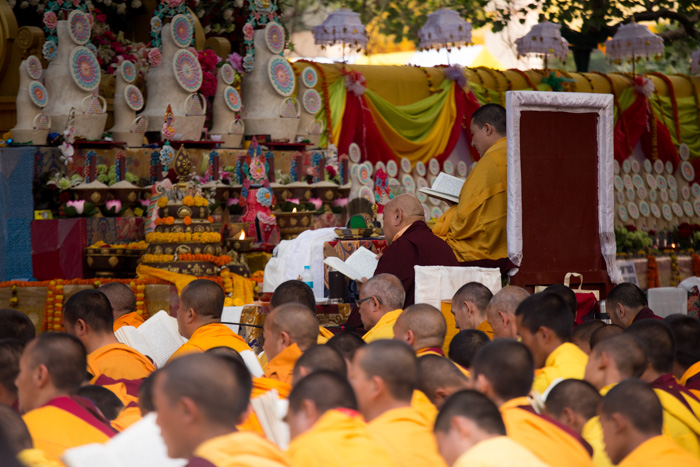 His Eminence Beru Khyentse Rinpoche, who played host to the Mahakala pujas held before the Monlam at his monastery Karma Tharjay Chokhorling, reciting aspiration prayers together with His Holiness the 17th Gyalwa Karmapa