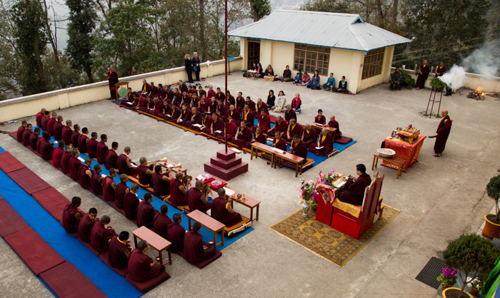 February 25: His Holiness Gyalwa Karmapa presides over a Phurab Chokha Puja in front of the main building of Shri Diwakar Vihara Shedra