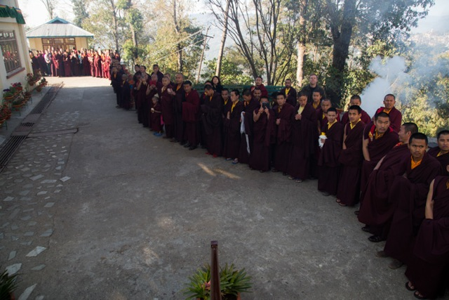 Monks awaiting the arrival of His Holiness Karmapa on the morning of Losar