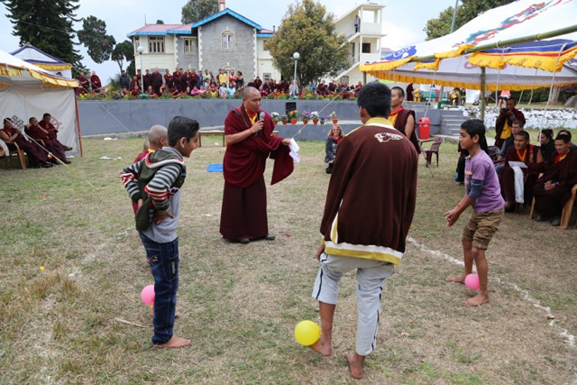 After the morning puja on the first day of Losar (the Tibetan New Year) the rest of the day is devoted to various kinds of entertainment