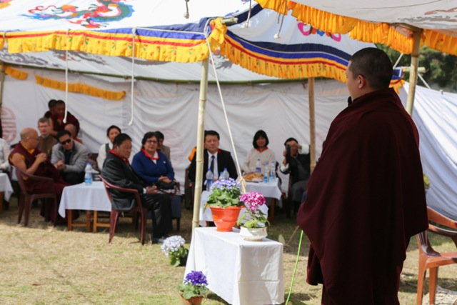 His Holiness Gyalwa Karmapa addresses the gathering of VIPs, sharing with them his vision and aspirations for the future