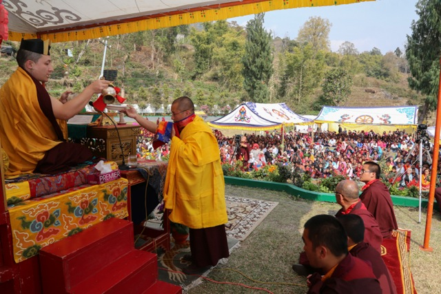 Gyalwa Karmapa performs the preliminary ritual of purification during the long-life empowerment