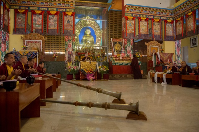 His Holiness the 17th Karmapa during the last Mahakala puja on January 29