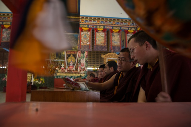 Monks during the last Mahakala puja on January 29