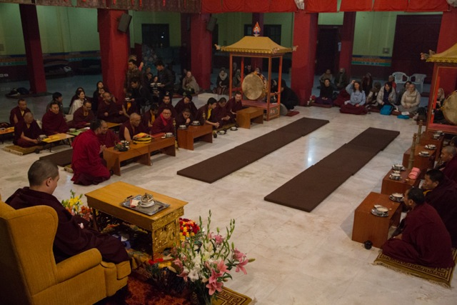 Gyalwa Karmapa and the gathering of monks, staff, students and guests during the special Thukpa (Tibetan noodle soup) dinner organised on the evening of January 29
