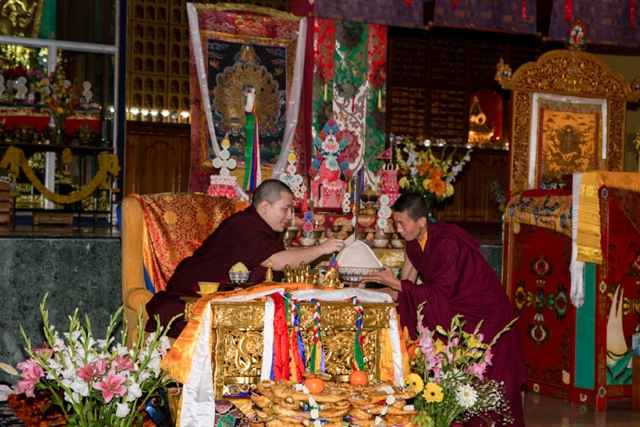 Gyalwa Karmapa on the morning of the first day of Losar (New Year)