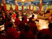 His Holiness Karmapa Thaye Dorje, guiding a session of meditation