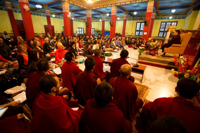 His Holiness Gyalwa Karmapa, guiding a session of meditation