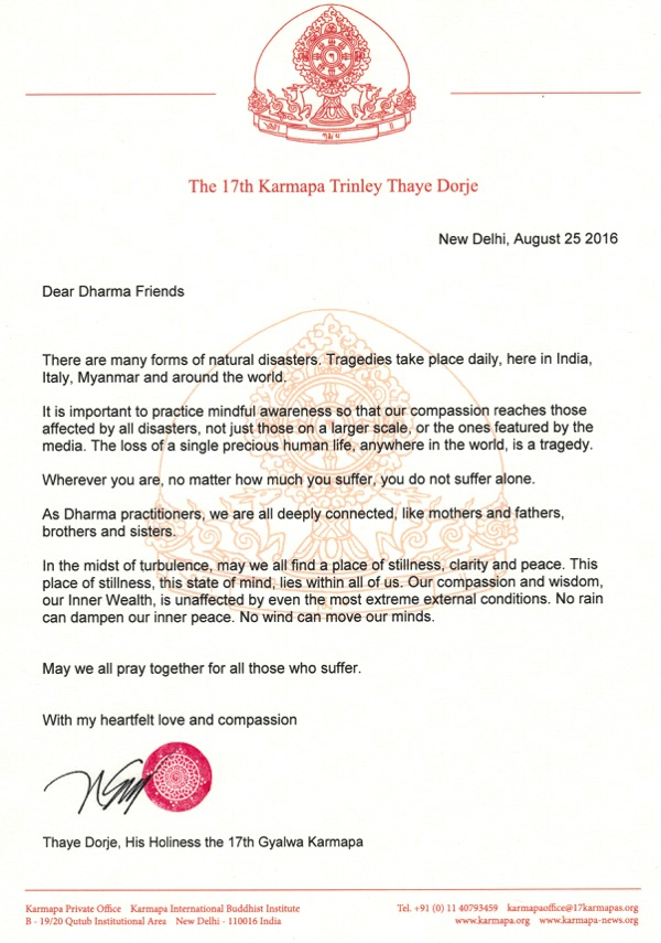 Letter on recent natural disasters from Thaye Dorje, His Holiness the 17th Gyalwa Karmapa