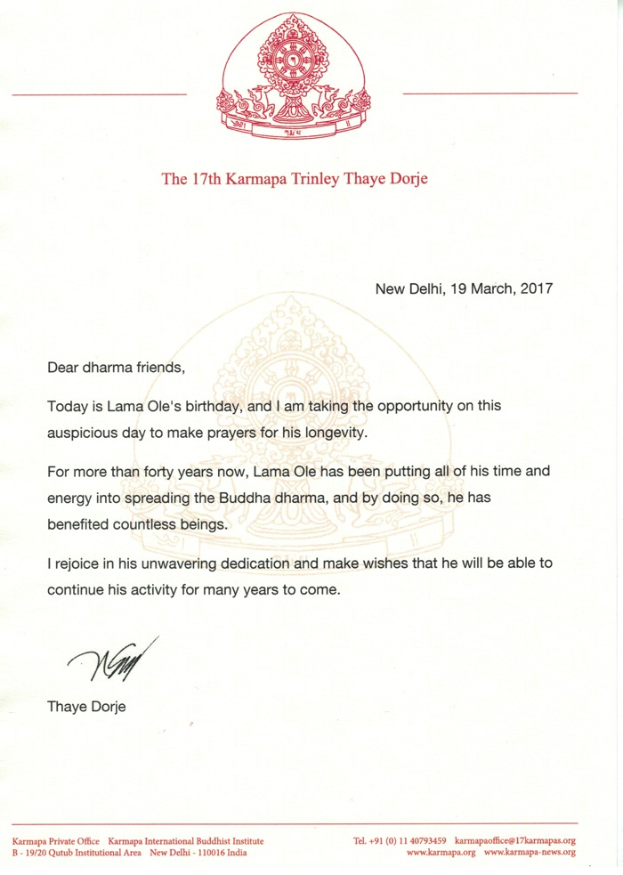 Letter on the occasion of Lama Ole Nydahl's birthday from Thaye Dorje, His Holiness the 17th Gyalwa Karmapa