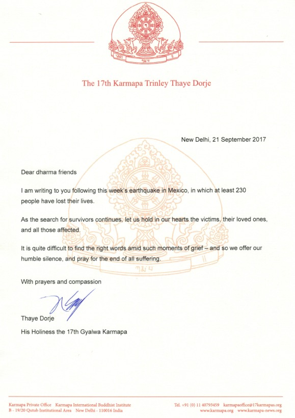 Letter from Thaye Dorje, His Holiness the 17th Gyalwa Karmapa, on the earthquake in Mexico