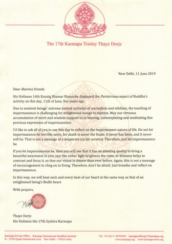 Karmapa's message on the fifth anniversary of Shamar Rinpoche's passing