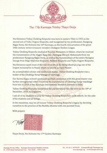 Condolence letter Tsikey Chokling English