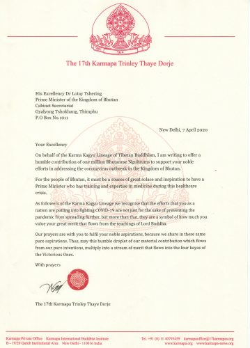 Letter to the Prime Minister of Bhutan