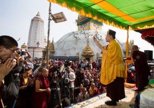 Thaye Dorje, His Holiness the 17th Gyalwa Karmapa, on a previous visit to the Karma Raja Maha Vihar monastery and the Stupa at Swayambhu.