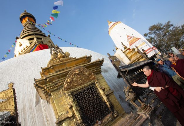 Thaye Dorje, His Holiness the 17th Gyalwa Karmapa, visits the Karma Raja Maha Vihar monastery and the Stupa at Swayambhu.