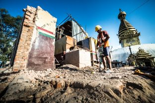 Following the April 2015 earthquake in Kathmandu, reconstruction started on the Karma Raja Maha Vihar monastery and 17 Buddhacharya residences at Swayambhu. Photo / Tokpa Korlo