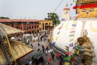The handover ceremony of the Karma Raja Maha Vihar monastery and 17 residences at Swayambhu in Kathmandu, 26 April 2021.
