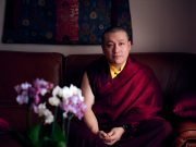 Thaye Dorje, His Holiness the 17th Gyalwa Karmapa, Sangyumla and Thugseyla at Dhagpo Kundreul Ling in Le Bost, France. Photo / Tokpa Korlo