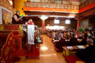 Thaye Dorje, His Holiness the 17th Gyalwa Karmapa, Sangyumla and Thugseyla at Dhagpo Kundreul Ling in Le Bost, France. Photo / Thule Jug