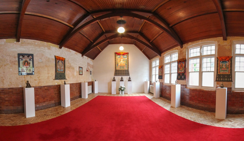 The meditation hall at the London Diamond Way Buddhist Center