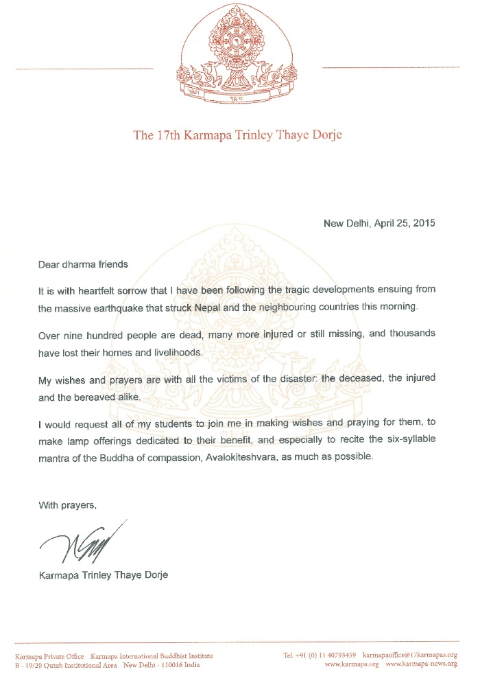 Condolence letter from Thaye Dorje, His Holiness the 17th Gyalwa Karmapa, on the earthquake in Nepal