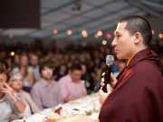Thaye Dorje, His Holiness the 17th Gyalwa Karmapa, addresses Lama Ole Nydahl and students in 2012. Photo / Volen Evtimov