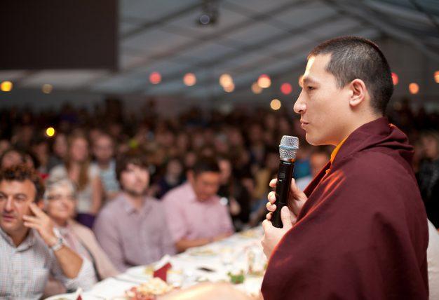 Thaye Dorje, His Holiness the 17th Gyalwa Karmapa, addresses Lama Ole Nydahl and students in 2012. Photo / Volen Evtimov