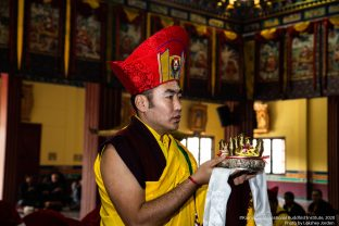 Long life prayer for Thaye Dorje, His Holiness the 17th Gyalwa Karmapa, and Professor Sempa Dorje, on Guru Rinpoche day at Karmapa International Buddhist Institute (KIBI), Delhi