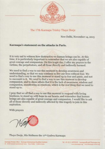 Statement on the attacks in Paris by Thaye Dorje, His Holiness the 17th Gyalwa Karmapa