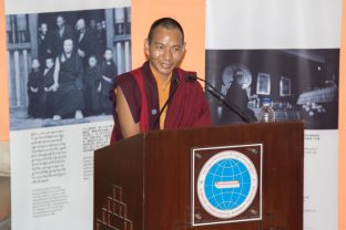 Khenpo Mirti, secretary of KIBS and administrator of KIBI, gives a short presentation of the historical background of KIBI and explains the main subjects of the study program. Photo/Norbu Zangpo