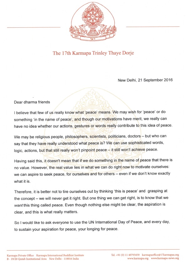 Message from Thaye Dorje, His Holiness the 17th Gyalwa Karmapa, for International Peace Day  2016, page 1