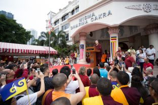 Thaye Dorje, His Holiness the 17th Karmapa, gives a speech at the Vesak ceremonies in Malaysia. Photo / Magda Jungowska