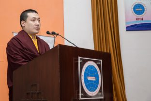 Thaye Dorje, His Holiness the 17th Gyalwa Karmapa delivers an inspiring speech. Photo/Norbu Zangpo