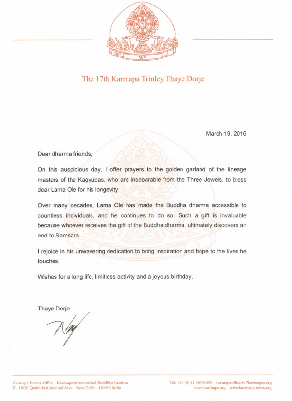 Letter from Thaye Dorje, His Holiness the 17th Karmapa, for Lama Ole Nydahl's birthday 2016