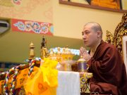 Thaye Dorje, His Holiness the 17th Gyalwa Karmapa, leading the Amitabha puja in Malaysia 2016. Photo / Magda Jungowska