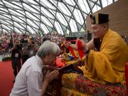 Thaye Dorje, His Holiness the 17th Gyalwa Karmapa, blessing an attendee