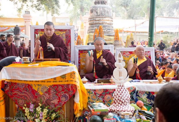 Thaye Dorje, His Holiness the 17th Gyalwa Karmapa, and Jamgon Kongtrul Rinpoche at the Kagyu Monlam in Bodh Gaya