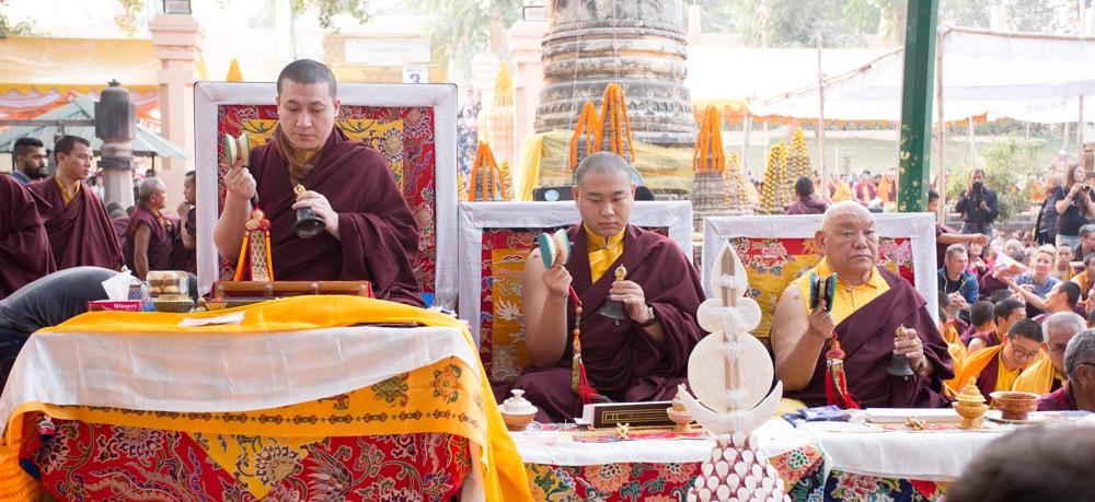 Thaye Dorje, His Holiness the 17th Gyalwa Karmapa, and Jamgon Kongtrul Rinpoche at the Kagyu Monlam in Bodh Gaya