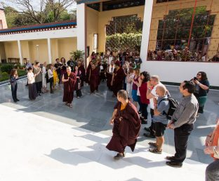 Thaye Dorje, His Holiness the 17th Gyalwa Karmapa, arrives at the Karmapa International Buddhist Institute (KIBI) for the Public Course. Photo / Norbu Zangpo