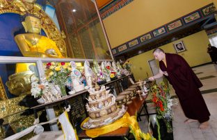 Thaye Dorje, His Holiness the 17th Gyalwa Karmapa, in front of the Buddha statue at KIBI. Photo / Norbu Zangpo