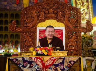 Thaye Dorje, His Holiness the 17th Gyalwa Karmapa, during the Karmapa Public Course at KIBI. Photo / Norbu Zangpo