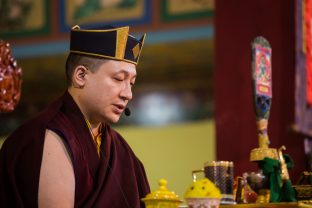 Thaye Dorje, His Holiness the 17th Gyalwa Karmapa, during the Green Tara empowerment at the Karmapa Public Course at KIBI. Photo / Norbu Zangpo